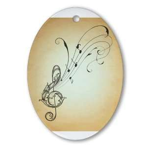 Ornament (Oval) Treble Clef Music Notes