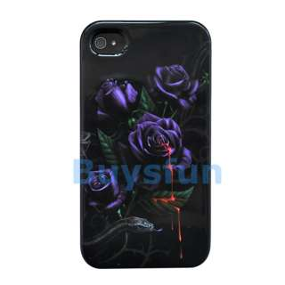 New Purple Flower Black Full Hard Cover Case Skin For Apple iPhone 4S