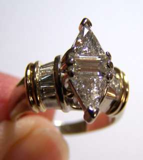CHEAP ESTATE 1.75 CARAT DIAMOND RING TRILLION CUT MARQUISE 14k gold $