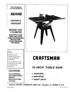 Craftsman Table Saw Manual Model # 113.298750