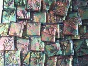 1sqft 1 VAN GOGH Mosaic Glass Tiles GREEN COPPER GOLD