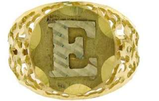 MENS 10K YELLOW GOLD CIRCLE INITIAL E LETTER RING