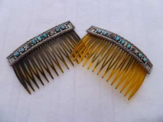 Navajo Sterling Silver Turquoise Hair comb set
