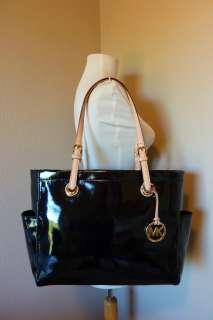 NWT Michael Kors Black Patent Leather EW Items Tote $198