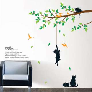 CAT TREE WALL PAPER DECAL MURALS DECOR DIY STICKERS #2