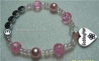 Goddaughter heart pretty bead charm bracelet christening gift