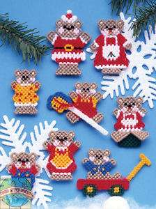 Plastic Canvas Kit ~ 8 Christmas Teddy Bears Ornaments