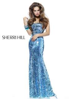 Sherri Hill 2907 Sparkling Evening Gown Aqua Blue Sz 8 New NWT Prom