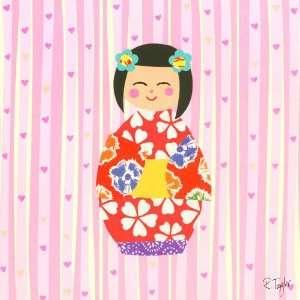 Oopsy daisy Kimono Girl Short Bob Wall Art 10x10