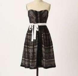 Anthropologie Peeking Needlework Dress Size 2, Strapless Black