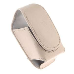 French Vanilla Leather Pouch with Magnetic Flap for Small Flip Phones