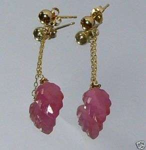 GENUINE GEM FACETED PINK SAPPHIRE 14K GOLD EARRINGS