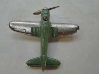 VINTAGE HUBLEY CAST IRON TOY AIRPLANE PLANE 2227 GREEN SINGLE PROP