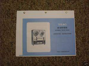 Teac A 2050 Reel to Reel Tape Recorder Owners Manual