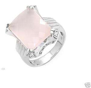 10.45ctw Rose Pink Quartz 14K White Gold Ring. L@@K