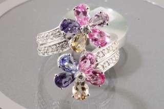 Ct Multicolor Sapphire & Diamond 14k White Gold Ring