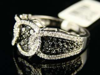 LADIES UNIQUE BLACK/WHITE DIAMOND FASHION BAND RING