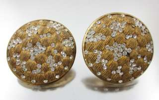 SHAKIRA Vintage Gold Tone Rhinestone Disc Earrings