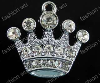 Lot 50 Pcs DIY Rhinestone King Crown Charm 15*18MM 1