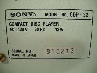 SONY CD Compact Disc Player Model # CDP 32 With 3 Inch Player