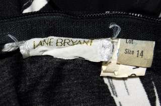Vtg Lane Bryant Black White Nylon Chiffon Long Dress 14