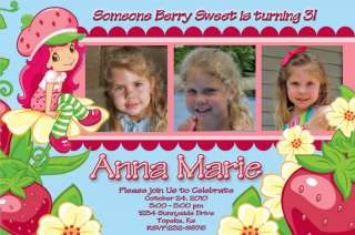Strawberry Shortcake Personalized Birthday Invitation