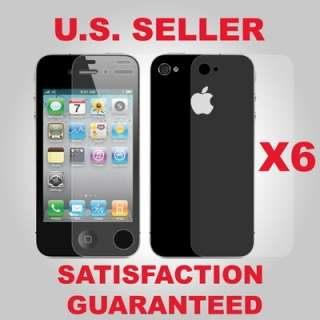 6X Clear Screen Protector Front+Back Cover Shield Full Body iPhone 4