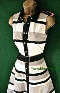 White Black Grey GRAPHIC STRIPE Stretch Shirt DRESS  Uk 8 10 12