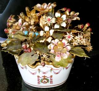 French Flower Basket ceramic w/ bronze enameled flowers