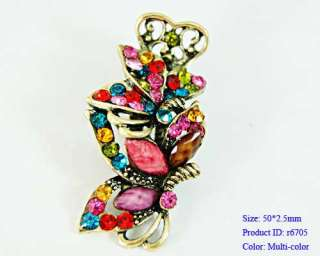 Gem Crystal Flower Tibetan Silver Hairpin Barrette Clip Jewelry