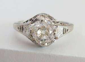 ANTIQUE OLD MINE CUT DIAMOND FILIGREE RING 18K WHITE GOLD NICE