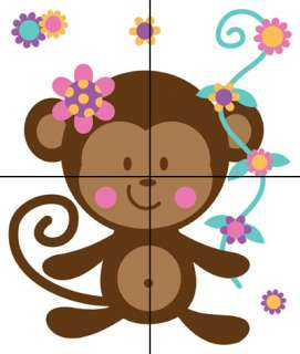 MONKEY BABY NURSERY PINK FLORAL WALL ART MURAL STICKERS DECALS