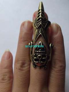 Womens Skull Cage Ring Punk Armour Knuckle Silver Tone Tongue Rings