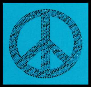 ZEBRA PINK PEACE SIGN RHINESTONE IRON TRANSFERS HOT FIX