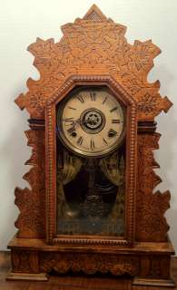 Beautifully Carved Oak Case w/ Alarm (Running Condition)