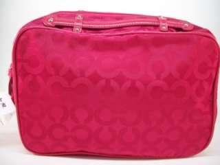 COACH JULIA OP ART NYLON TRAVEL CASE COSMETIC BAG LIPSTICK RED 61339