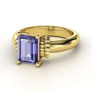 Beluga Ring, Emerald Cut Tanzanite 14K Yellow Gold Ring