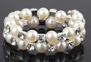 Twinkling 2 Row Pearl 2 Row Wedding Czech Crystal Bracelet