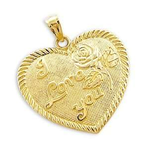 14k Yellow Gold I Love You Heart Rose Charm Pendant NEW Jewelry