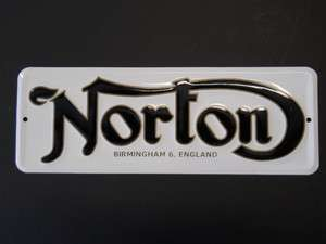 VINTAGE NORTON MOTORCYCLE LOGO METAL SIGN EMBOSSED PARTS
