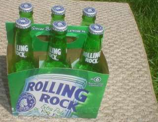 PACK OF ROLLING ROCK CAPPED BEER BOTTLES LATROBE PA |