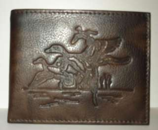 NEW Duck Hunting Wildlife Brown Leather BiFold Wallet