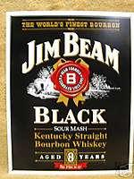 Jim Beam Bourbon Whisky Bar Tin Metal Sign Decor Black