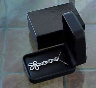 End BLACK LEATHERETTE Deluxe Earring, Necklace, Jewelry Set GIFT BOX