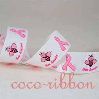 10Y 7/8 3/8 Bee Aware Go Pink Breast Cancer Awareness Grosgrain Ribbon
