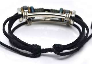 Ethnic Surfer Leather Bracelets Wristbands Alloy Chain