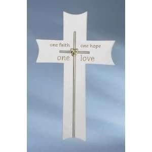 Pack of 6 One Faith Hope Love Wedding Wall Crosses 9.5