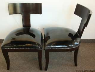 Pair of Custom Art Deco T Back Accent Side Chairs
