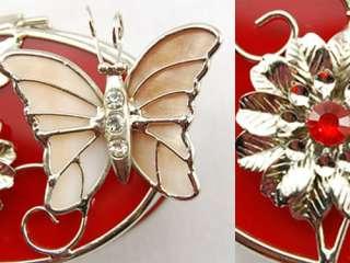 Feminine Poppin Red Butterfly Flower Oval Crystal Rhinestone Jewelry