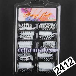 70pcs Designer Glitter French False Nail Tips Sticker Glue Acrylic UV